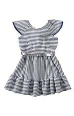 Vestido Godê Listrado Menina Malwee Kids Azul Claro - 2