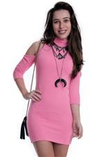 Vestido Gola Alta com Recortes Nos Ombros VE1587 - Kam Bess