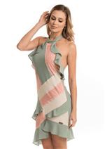 Vestido Gola Composição de Cores