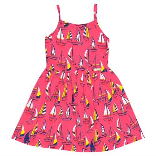 Vestido Infantil Abrange Barcos Vermelho 04