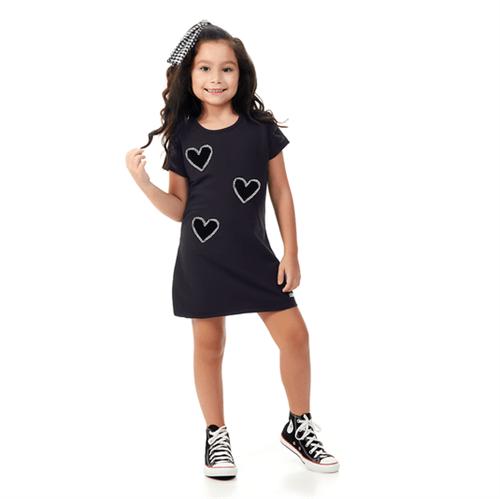 Vestido Infantil Abrange Corações Preto 04