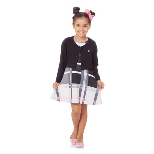 Vestido Infantil Abrange Geométrico Rosa 04