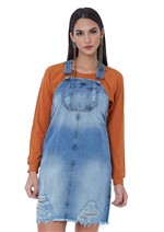 Vestido Jardineira Bom Detalhes Rasgados