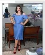 Vestido Jeans Feminino Ombros a Mostra - Azul