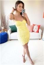 Vestido Justo Babadotop Renda Det. Corpete - Amarelo