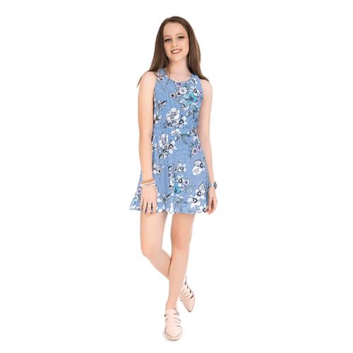 Vestido Juvenil Abrange Listras e Flores Azul 16