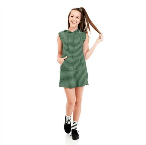 Vestido Juvenil Abrange Way Capuz Verde 12