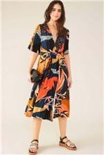 Vestido Kimono Cantão Estampa Fuji - Preto