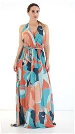Vestido Lança Perfume Longo Estampado Laranja PV19 502VE002100