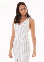 Vestido Listrado Mídi com Fenda Frontal - Off Listras P