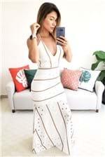 Vestido Longo Colcci Bordado Decote V Laise - Branco