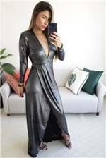 Vestido Longo Colcci Fenda Metalizado - Preto