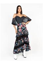 Vestido Longo com Babado Estampa Mix Flower - P