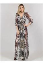 Vestido Longo com Body Estampa Snake Floral 38