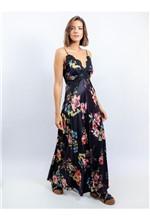 Vestido Longo de Cetim Estampa Floral Fundo Preto 40