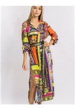 Vestido Longo de Cetim Estampa Mix Ethnic - 38