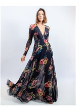 Vestido Longo de Chiffon e Tule Estampa Floral Fun 38