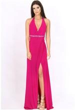 Vestido Longo de Malha com Fenda Pink 40
