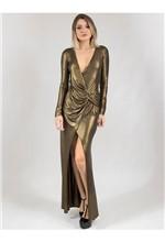 Vestido Longo de Malha Lamê com Fenda 38