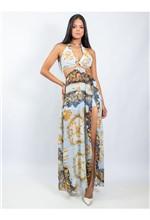 Vestido Longo de Musseline com Recortes Estampa Go - 38