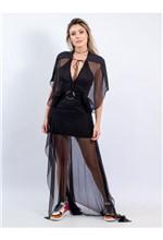 Vestido Longo de Seda com Bordado de Macramê - 38