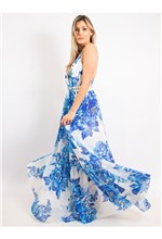 Vestido Longo de Tule com Decote Estampa Blue Flow - 38