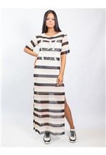 Vestido Longo de Tule Estampa Sand Stripe com Ades - 38