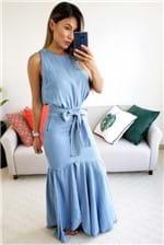 Vestido Longo Enna com Babados Jeans - Azul