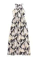 Vestido Longo Estampa Digital Malwee Cinza Claro - G