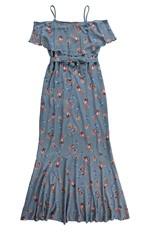 Vestido Longo Floral Digital Malwee Azul Claro - P