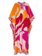 Vestido Longo Kaftan de Seda Estampado Rosa
