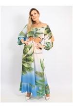 Vestido Longo Ombro a Ombro Estampa Palm Tree - 38
