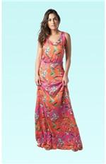 Vestido Longo Recorte Costas Alicia-estampa Pink - Pp