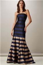 Vestido Longo Stripes Zibeline Azul - P