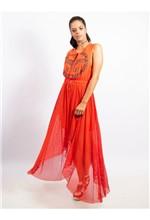 Vestido Longuete de Nylon e Tela com Silk Start - 38