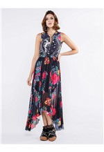 Vestido Longuete de Nylon e Tule Estampa Floral Fl - 38