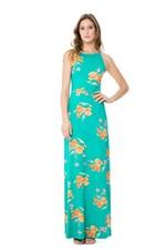 Vestido Lunender com Alças Longo Renda Verde Tam. P