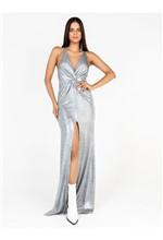 Vestido Malha Foil com Fenda - 38