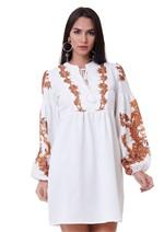 Vestido Manga Longa Estampa Arabescos