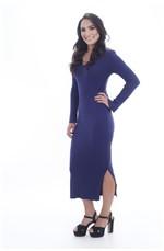 Vestido Mid com Fendas Liso Azul Marinho
