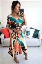 Vestido Midi Babadotop Estampado com Fivela