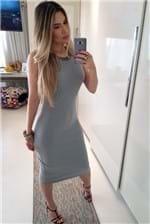 Vestido Midi Canelado Colcci Slim Comfort - Cinza
