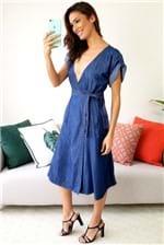 Vestido Midi Cantão Jeans Cashecour Amor Blue - Azul