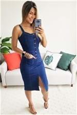Vestido Midi Cantão Jeans Jardineira Comfort - Azul