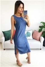 Vestido Midi Cantão Jeans Regatão Blue - Azul