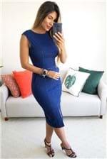 Vestido Midi Cantão Jeans Tubinho Comfort - Azul