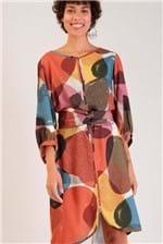 Vestido Midi Cantão Tulipa Estampa Afeto - Multicolorido