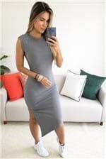 Vestido Midi Colcci Assimétrico Canelado - Cinza
