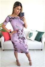 Vestido Midi Colcci Canelado Estampado Grape - Lilás