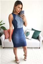 Vestido Midi Colcci Jeans Sem Manga e Recortes - Azul
